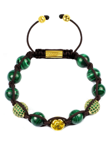 Women's Beaded Bracelet with Malachite and CZ Diamonds