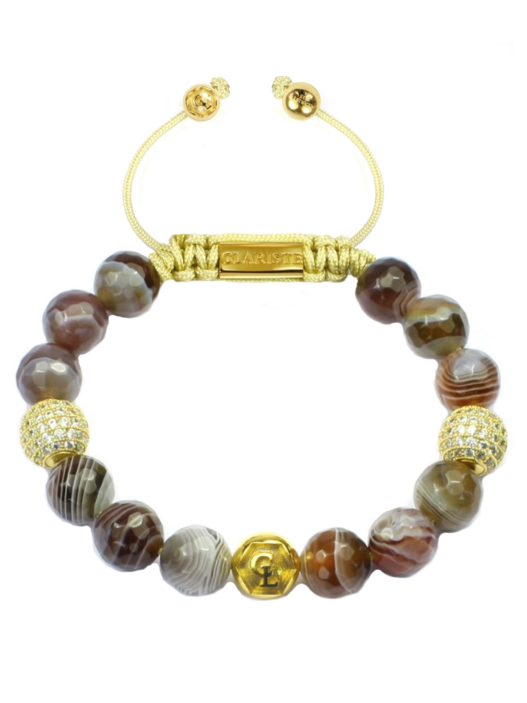 Women's Beaded Bracelet with Botswana Agate and CZ Diamonds