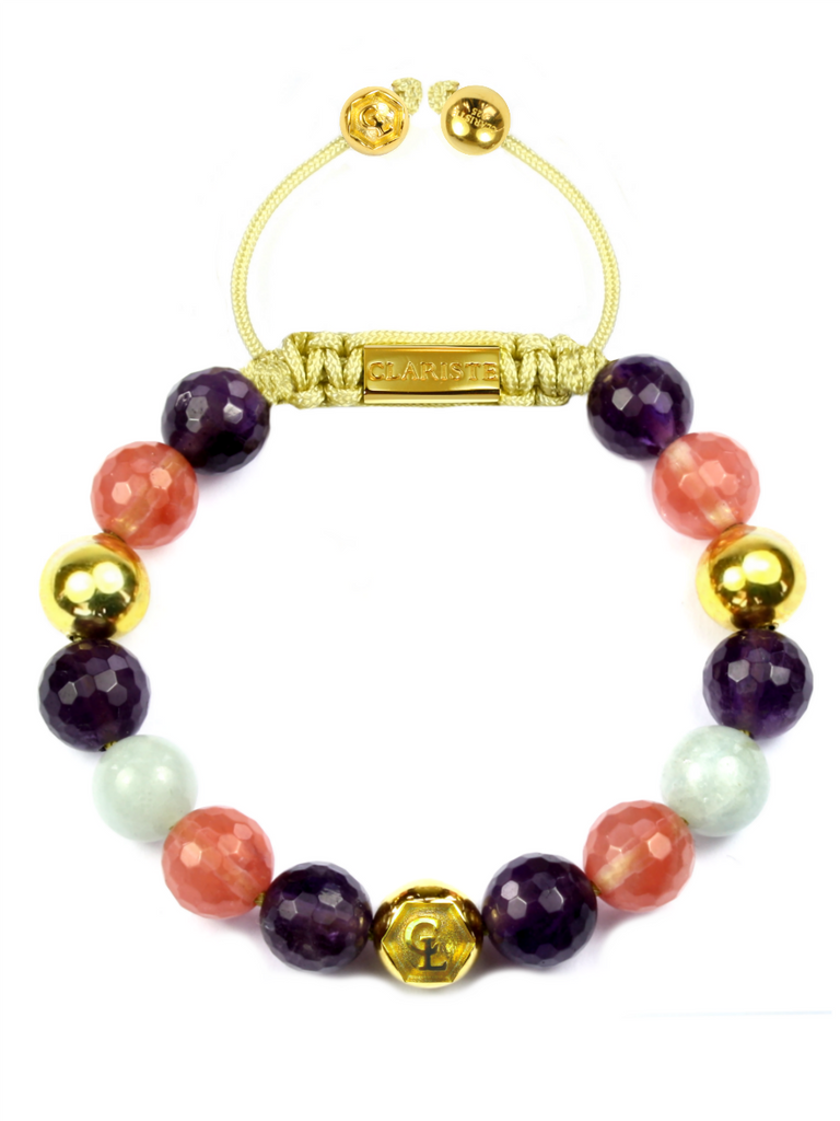 Women's Beaded Bracelet with Amethyst, Cherry Quartz and Aquamarine