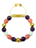 Women's Beaded Bracelet with Amethyst, Cherry Quartz and Aquamarine | Clariste Jewelry
