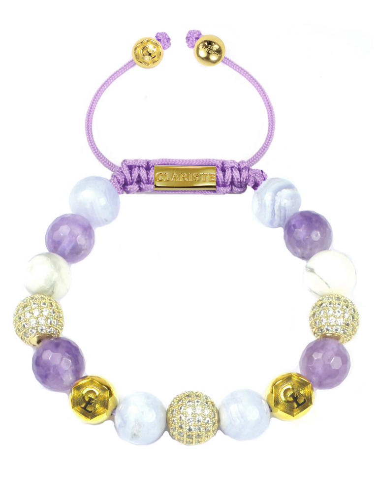 Women's Beaded Bracelet with Blue Lace Agate, Amethyst Lavender and Howlite