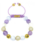 Women's Beaded Bracelet with Blue Lace Agate, Amethyst Lavender and Howlite | Clariste Jewelry
