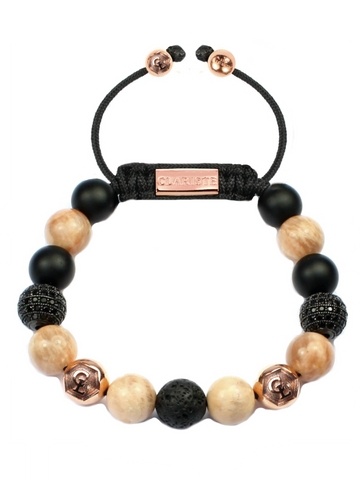 Women's Beaded Bracelet with Sunstone, Matte Onyx, Lava Stone and CZ Diamonds