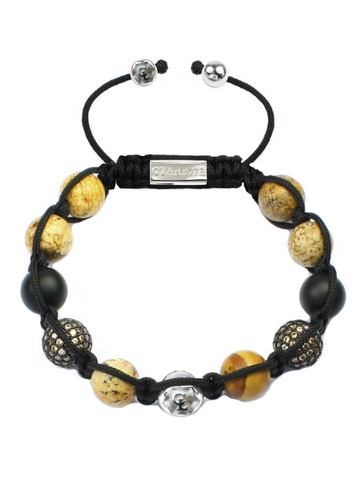 Women's Beaded Bracelet with Jasper, Matte Onyx and CZ Diamonds