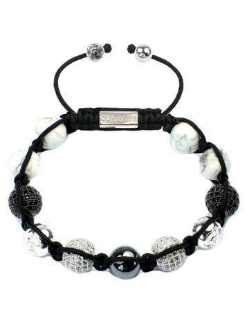 Women's Beaded Bracelet with Howlite, Hematite and CZ Diamonds