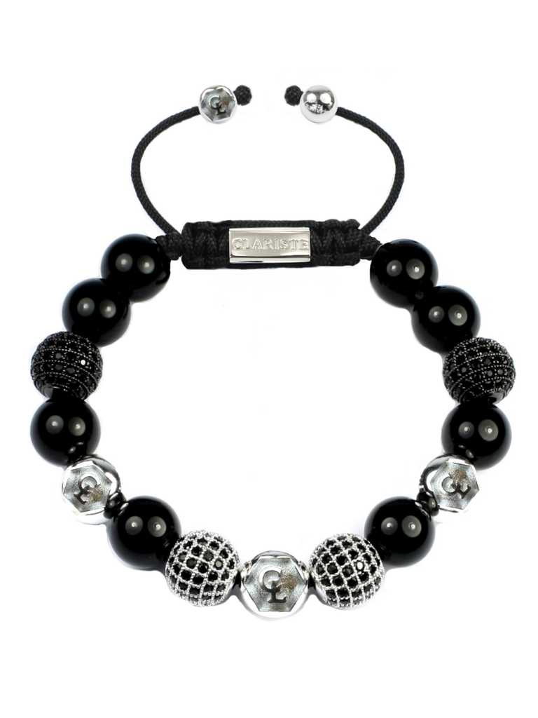 Women's Beaded Bracelet with Black Agate and CZ Diamonds