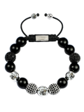 Women's Beaded Bracelet with Black Agate and CZ Diamonds | Clariste Jewelry