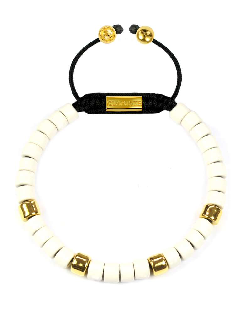Women's Ceramic Bead Bracelet White and Gold
