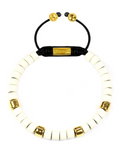 Women's Ceramic Bead Bracelet White and Gold | Clariste Jewelry