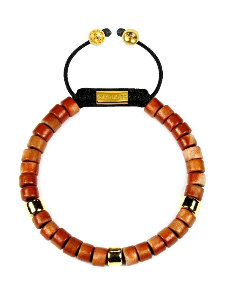 Women's Ceramic Bead Bracelet Red and Gold
