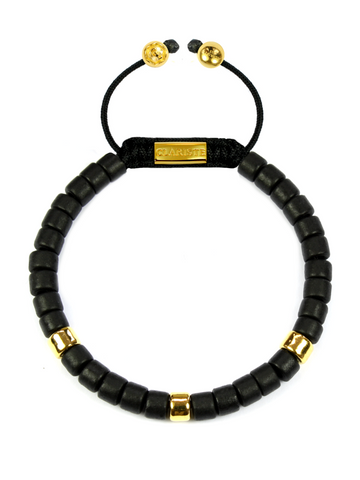 Women's Ceramic Bead Bracelet Black and Gold