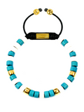 Women's Ceramic Bead Bracelet Turquoise, White and Gold | Clariste Jewelry