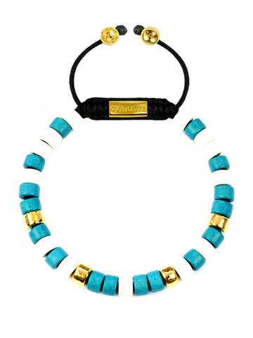 Women's Ceramic Bead Bracelet Turquoise, White and Gold