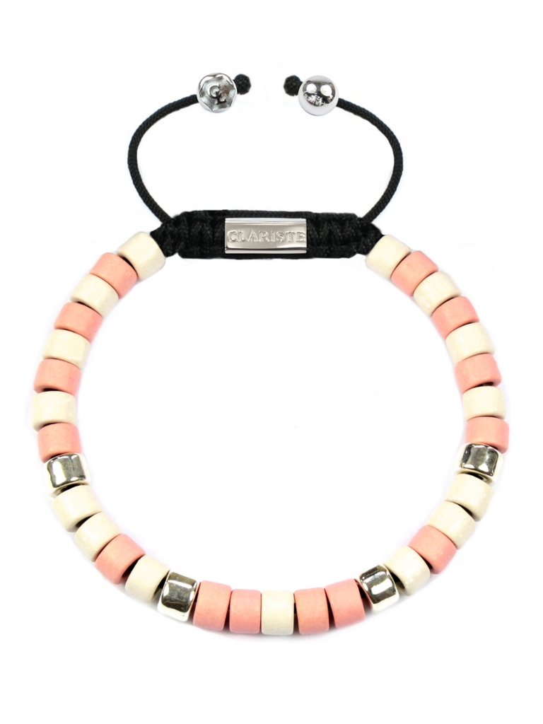 Women's Ceramic Bead Bracelet Pink, White and Silver