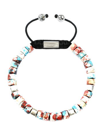 Women's Ceramic Bead Bracelet Red Graffiti