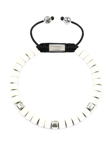 Women's Ceramic Bead Bracelet White and Silver