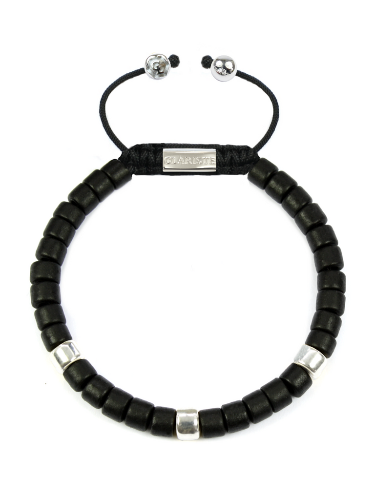 Women's Ceramic Bead Bracelet Black and Silver