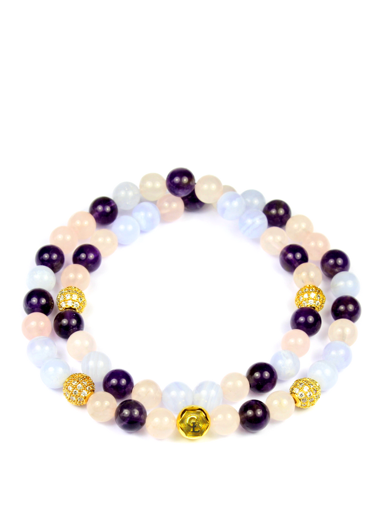 Women's Double Beaded Bracelet with Amethyst, Rose Quartz and Blue Lace Agate