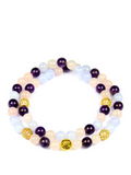 Women's Double Beaded Bracelet with Amethyst, Rose Quartz and Blue Lace Agate | Clariste Jewelry