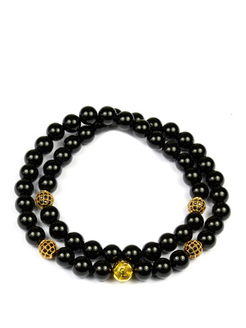 Women's Double Beaded Bracelet with Black Agate and CZ Diamonds