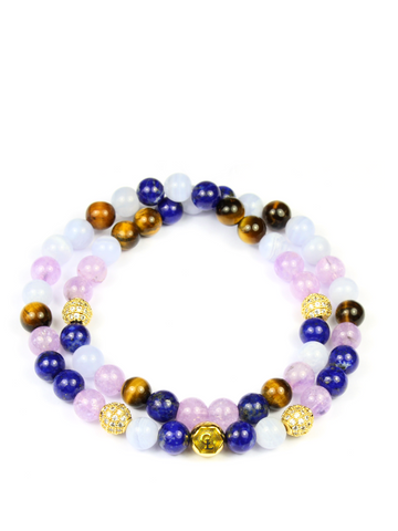 Women's Double Beaded Bracelet with Blue Lapis, Amethyst Lavender, Brown Tiger Eye and Blue Lace Agate