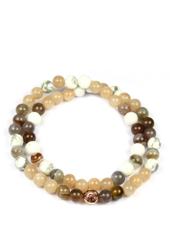 Women's Double Beaded Bracelet with Sunstone, Botswana Agate and Howlite