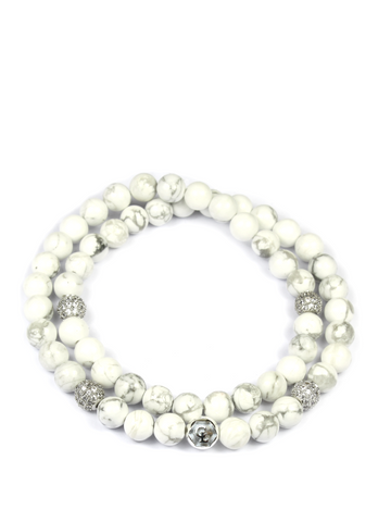 Women's Double Beaded Bracelet with Howlite and CZ Diamonds