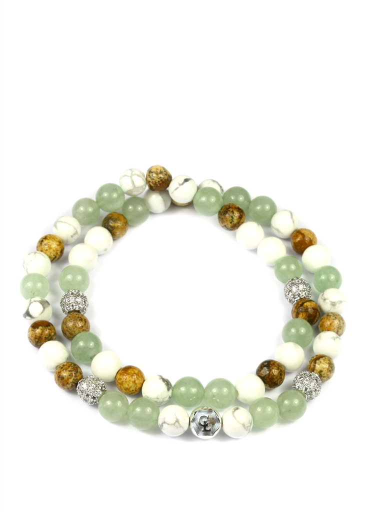 Women's Double Beaded Bracelet with Aventurine, Jasper and Howlite
