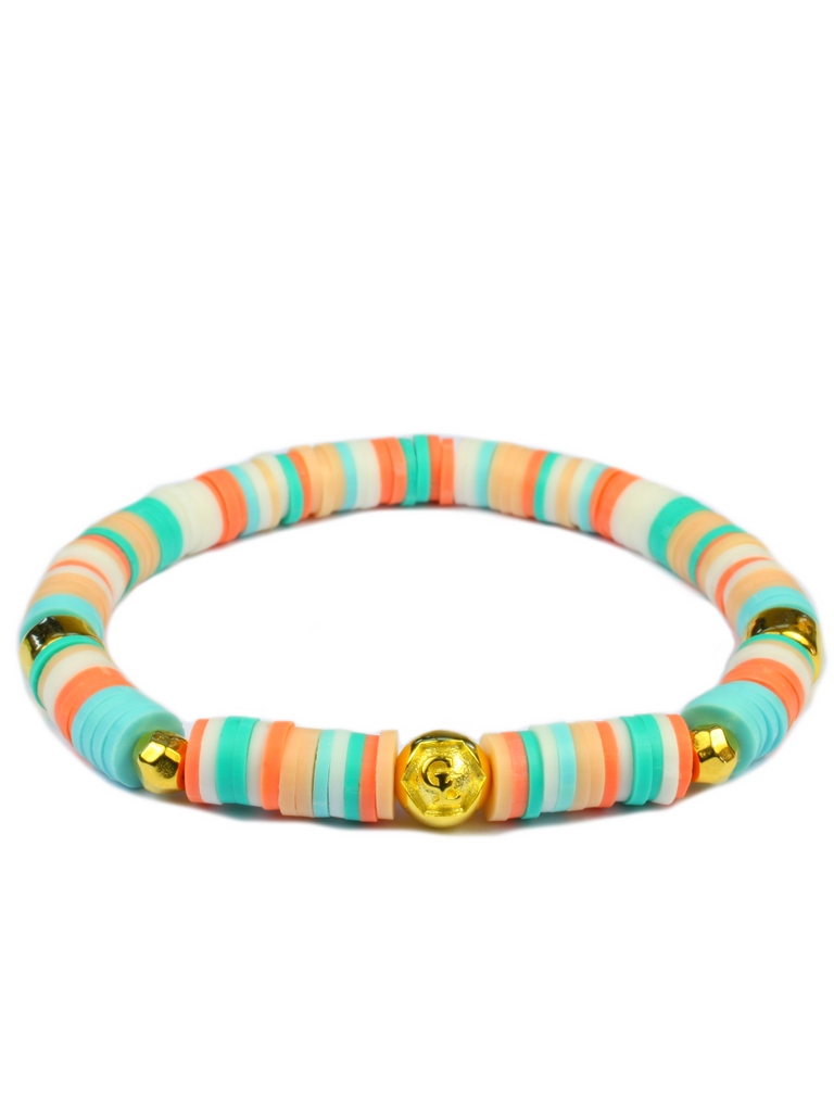 Women's Beaded Heishi Bracelet Multicolored Gold