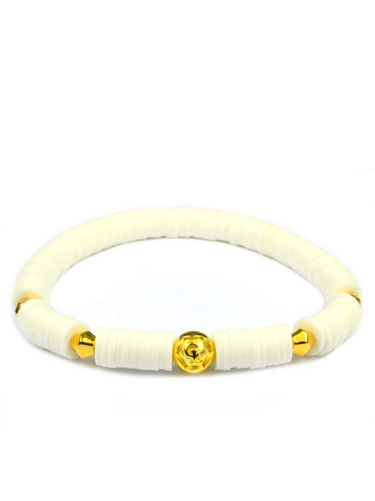Women's Beaded Heishi Bracelet White and Gold