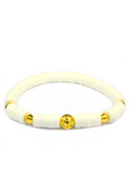 Women's Beaded Heishi Bracelet White and Gold | Clariste Jewelry