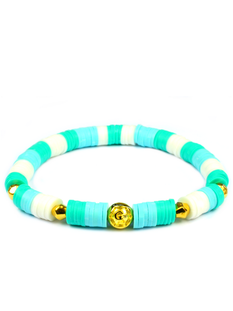 Women's Beaded Heishi Bracelet Turquoise and White
