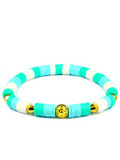 Women's Beaded Heishi Bracelet Turquoise and White | Clariste Jewelry