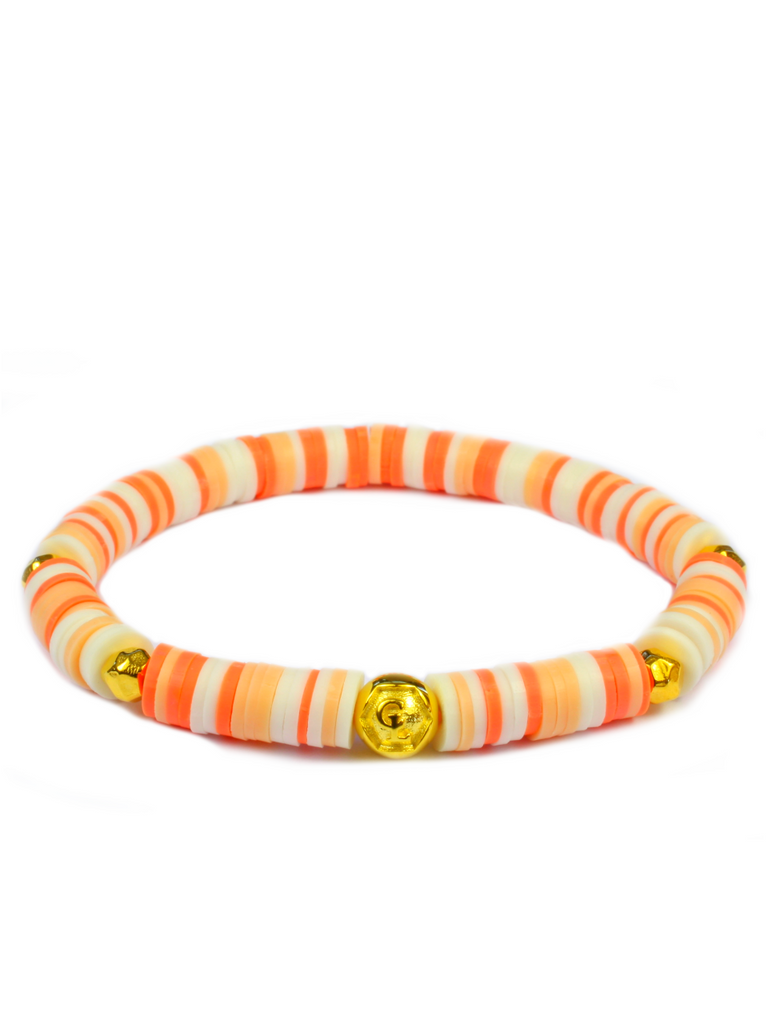 Women's Beaded Heishi Bracelet Peach