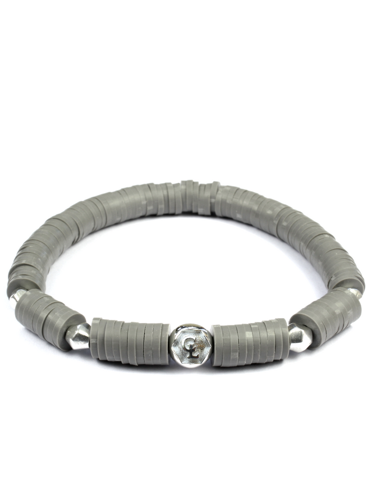 Women's Beaded Heishi Bracelet Grey