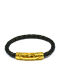 Women's Black Leather Bracelet with Gold Lock | Clariste Jewelry - 3