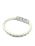 Women's Pearl White Leather Bracelet with Silver Lock | Clariste Jewelry - 2