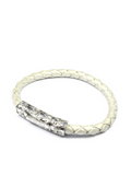 Women's Pearl White Leather Bracelet with Silver Lock | Clariste Jewelry