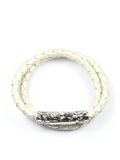 Women's Pearl White Double-Wrap Leather Bracelet with Gold Lock | Clariste Jewelry - 1