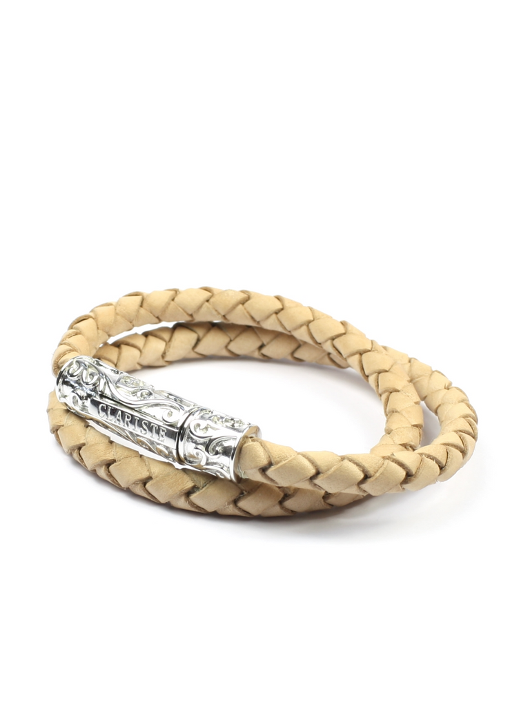 Women's Beige Double-Wrap Leather Bracelet with Silver Lock