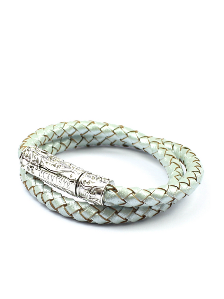 Women's Pastel Blue Double-Wrap Leather Bracelet with Silver Lock