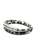 Women's White Leopard Double-Wrap Suede Bracelet with Silver Lock | Clariste Jewelry
