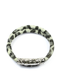 Women's White Leopard Double-Wrap Suede Bracelet with Silver Lock | Clariste Jewelry - 1