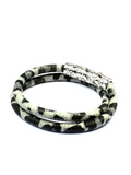 Women's White Leopard Double-Wrap Suede Bracelet with Silver Lock | Clariste Jewelry - 2
