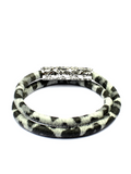 Women's White Leopard Double-Wrap Suede Bracelet with Silver Lock | Clariste Jewelry - 3