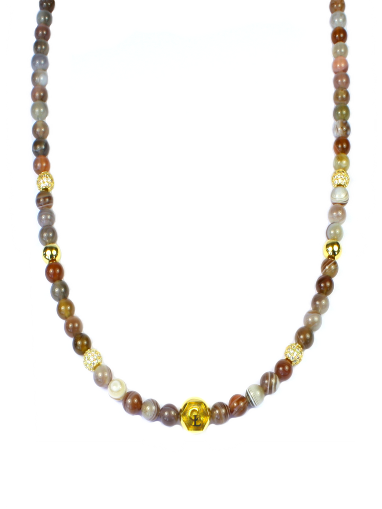 Women's Necklace with Botswana Agate, CZ Diamonds and Gold