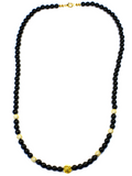 Women's Beaded Necklace with Black Agate, CZ Diamonds and Gold | Clariste Jewelry - 2