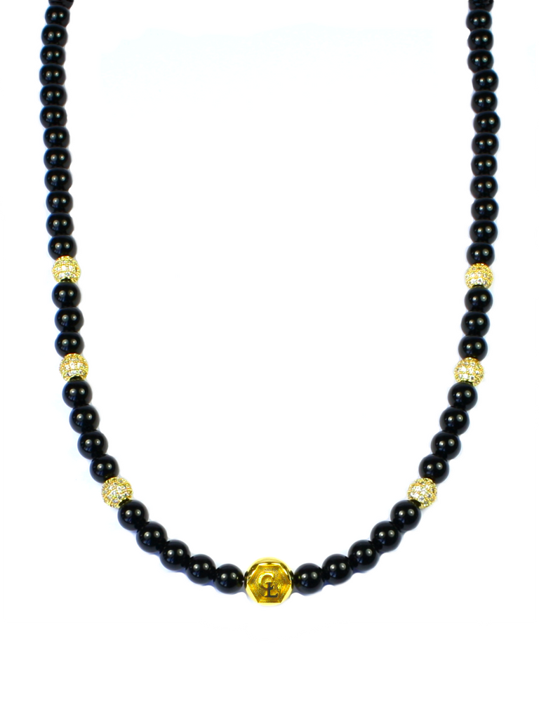 Women's Beaded Necklace with Black Agate, CZ Diamonds and Gold