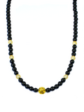 Women's Beaded Necklace with Black Agate, CZ Diamonds and Gold | Clariste Jewelry