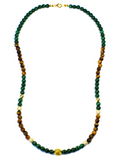 Women's Beaded Necklace with Malachite, Brown Tiger Eye, CZ Diamonds and Gold | Clariste Jewelry - 2